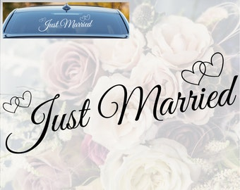 JUST MARRIED jour voiture de mariage décoration de fenêtre vinyle Sticker autocollant signe