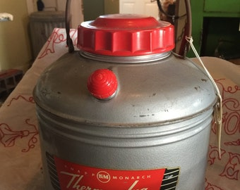 Vintage Thermos Knapp Monarch Therm-A-Jug Hot Or Cold Thermos Cooler Tailgating Glamping, Very Clean