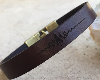 FREE SHIPING-Bracelets for men,Personalized Men Bracelet, Personalized Leather Bracelet,Sound Wave Leather Bracelet,Voice Record Bracelet