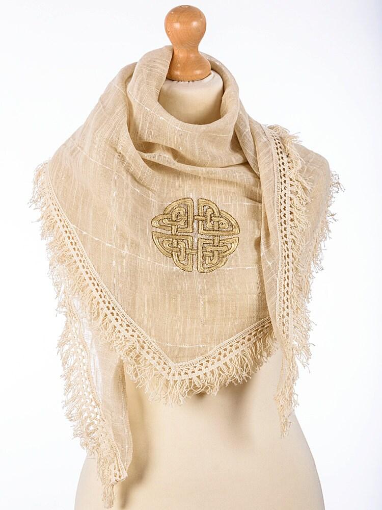 celtic scarf linen scarf loveknot kneckchief bandana