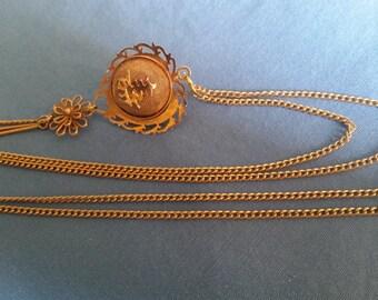 Vintage Gold Tone Mesh Chinese Pomander Drop Necklace