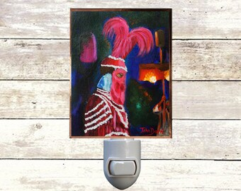 """Night Light, """"Proteus Duke"""", New Orleans Mardi Gras,  Handmade, Copper Foiled"""