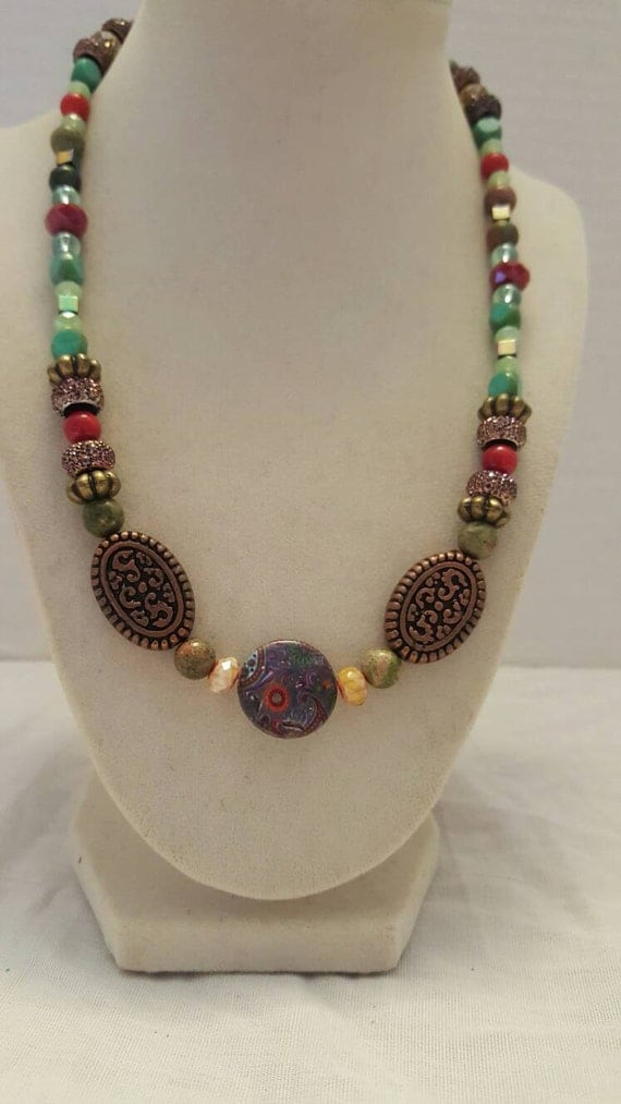 Green and red necklace red and green necklace statement for Red black and green jewelry