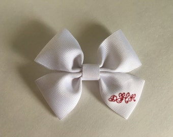 Personalized Monogrammed Hairbow-White and pink