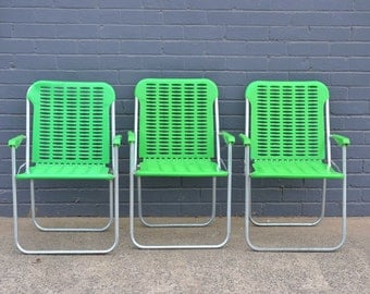 vintage retro folding chairs kermit the frog green