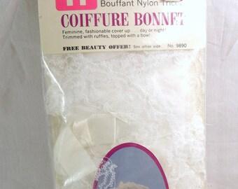 Vintage Nylon Tricot Bouffant Coiffure Bonnet, Tip Top Faberge Brand, White Sleeping Curl Nightcap Bonnet, Ruffle Lace Hair Bonnet, NOS, MIP