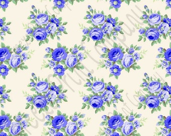 Blue rose floral craft  vinyl sheet - HTV or Adhesive Vinyl -  with off-white light beige background flower pattern vinyl  HTV2214