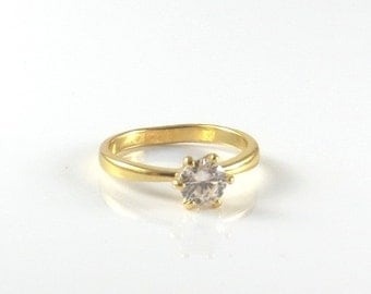 gold ring with Cubic zirkonia stone , white gold CZ ring , yellow gold CZ ring , gold diamond ring , natural stone ring