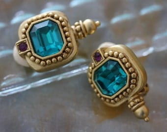 Elegant Teal and Gold Vintage 1980s Oscar De La Renta Earrings