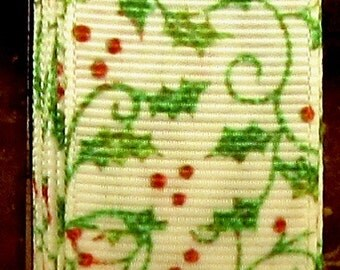 """2 Yards 7/8"""" White with Green Holly Vines & Red Berry Christmas Holiday Print Grosgrain Ribbon"""