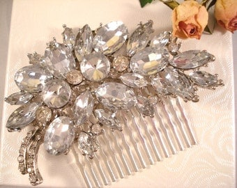 Rhinestone Hair Comb Jeweled Hair Piece Wedding Bridal Decorative Comb Women's Accessories