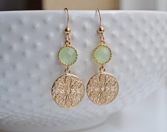 Mint Flower Filigree Earrings