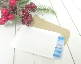 """Set of 25 - 2.5"""" x 4"""" Mini Paper Merchandise Gift Bags - Kraft Brown or White - Perfect for Gift Cards, Favors, Mini Envelope"""