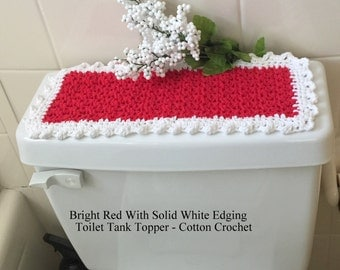 red u0026 white toilet tank topper commode cover cotton crochet vanity mat