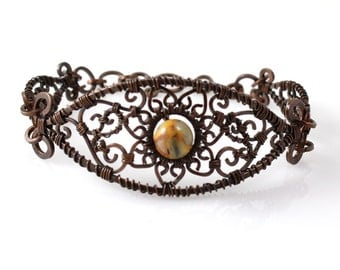 Artisan Copper Bracelet, Wire Wrapped with Crazy Lace Agate, Bohemian Jewelry, Custom Made