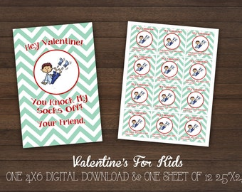 Dear Valentine -You Knock My Socks Off-Valentine's Cards -Class Valentine- Kids Valentines - Digital - Printable - Chevron