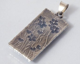 Pendant Small heart - flower meadow - handmade sterling silver