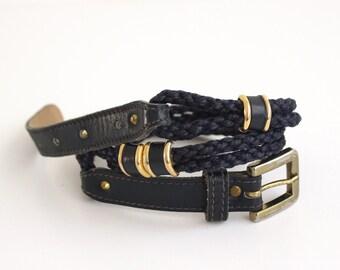 vintage navy blue thin belt/ blue gold nautical women belt/ sailing rope belt