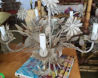 hollywood regency mid century italian tole flower chandelier