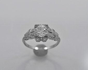 Vintage Engagement Ring .84 ct. Diamond & Platinum Art Deco - J35610