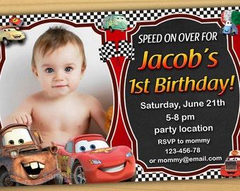 SALE Disney Cars Birthday Invitation, Disney Cars invitation, cars birthday invitation - Digital file