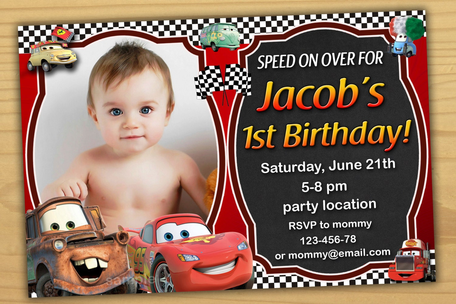 SALE Disney Cars Birthday Invitation Disney Cars invitation – Disney Cars Birthday Invites