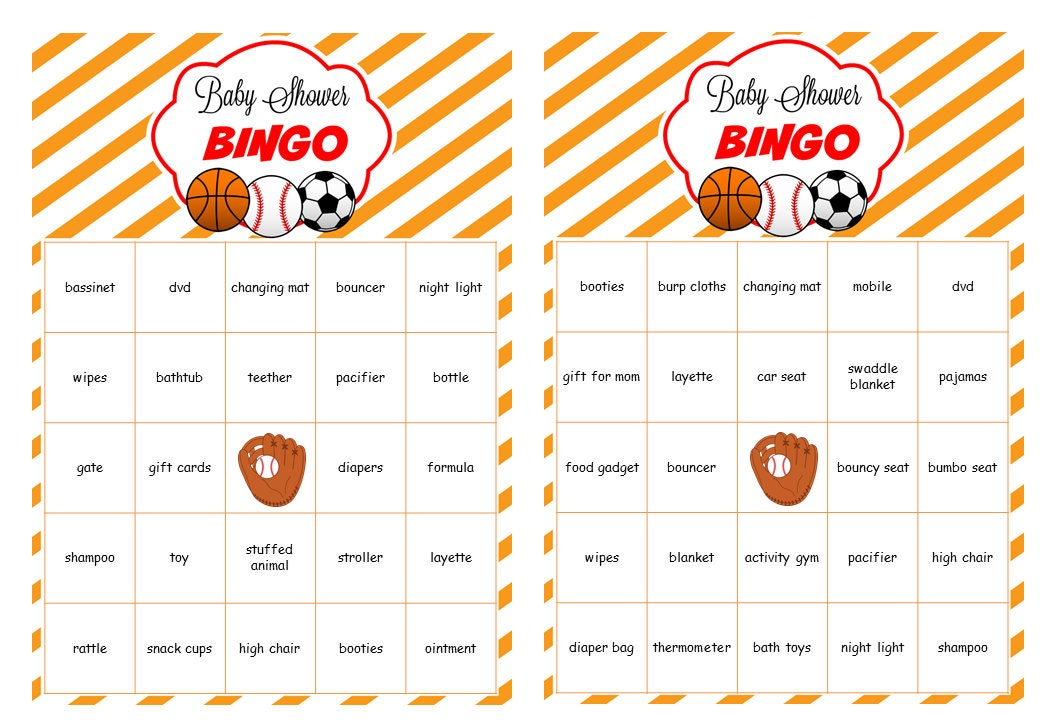 sports baby shower bingo cards prefilled words soccer
