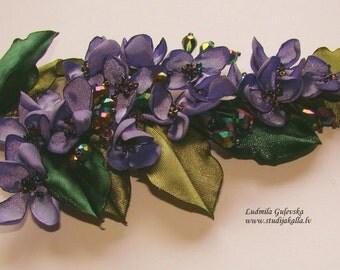 Wedding dress accessories, flower pin, purple - green pin, lilac brooch