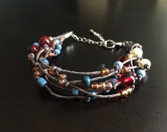 Unique Handcrafted Leather Cord Beaded Bracelet