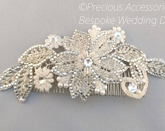 Bridal hair comb, Ivory applique lace beaded brides hair piece. Bridal hair accessories, crystal, pearls