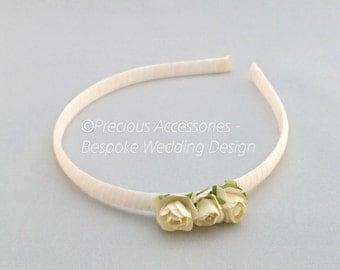 Ivory 3 Flower Headband, Wedding Headband, Flower Girl Hair Band, Wedding Hair Accessories for Bridesmaids, Christening, Birthday