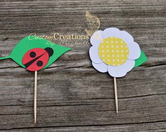 Ladybug/Flower Collections:  Ladybug & Flower Cupcake Toppers