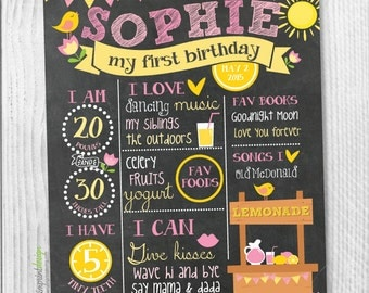 Lemonade Stand First Birthday Chalkboard Milestones - Lemonade Pink Yellow Chalkboard Photo Prop Poster - Printable and DIY (Digital File)