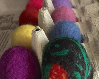 Easter Eggs, Needle Felted Eggs, Multi colors, Felt Toy, Toddler Toy, Baby Toy, Montessori, Waldorf Toy, Counting, Color Recognition, Gift