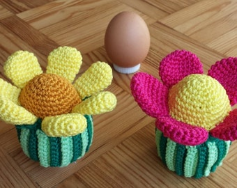 Sunflower egg cozy - crochet - pink or yellow