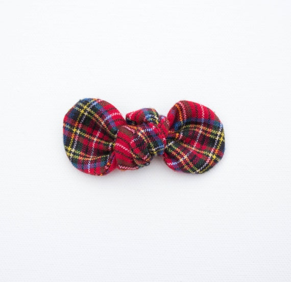 Traditional Holiday Plaid Linen Knotty Gal Baby Girl Hair Bow  : Winter Collection