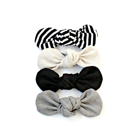 Fabric Knot Bow : The MINIMALIST Collection// Striped, Light Gray, Black, Dark Gray / Twist Fabric / Baby Bow / Retro Clip / Vintage  Clips
