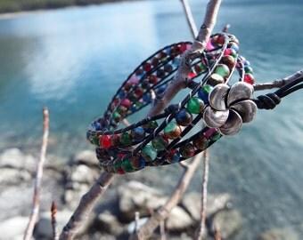 Moasic Stone Leather Wrap Bracelet