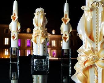 Unity candles, unity candle set,  ivory unity candle set, wedding candles
