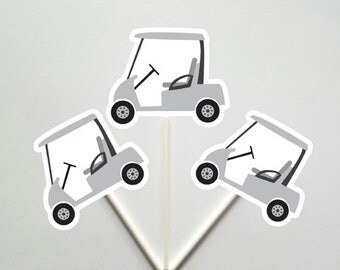 Golf Cupcake Toppers, Golfing Cupcake Toppers, Golf Cart Cupcake Toppers