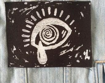 SAD EYE handmade art print punk patch