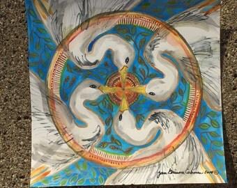 "Crane Mandala Print 10""x10"""