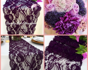 """30ft Plum Lace Table Runner/  7"""" WIDE /Wedding Decor/ Lace Overlay/Tabletop Decor/Tabletop Decor/Plum weddings/ENDS Not SEWN"""