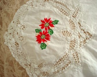 "Vintage Poinsettia Table Runner Bureau Scarf Doily White Battenburg Lace Hand Embroidered 48"" x 18"" Vintage Christmas"