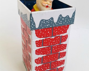 1950's Vintage Tin Litho Santa Claus in Chimney Wind Up Toy, Antique Christmas, Made in Japan