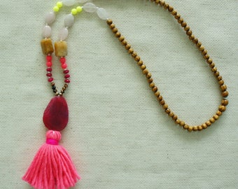 Pink Tassel - Beaded Long Necklace - Agate Necklace - Tassel Necklace