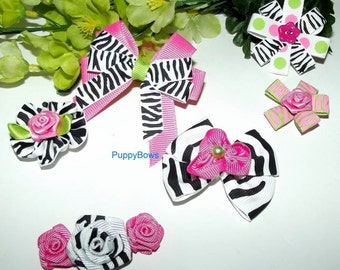 Puppy Bows ~ Hot pink black zebra for girls SIX  barrette  dog grooming hair bow