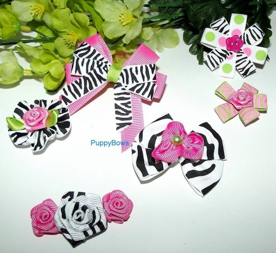 Puppy Bows ~ Hot pink black zebra for girls SIX  barrette  dog grooming hair bow (fb1)