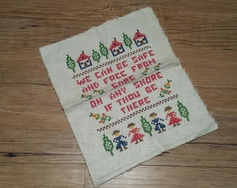 Charming Vintage Cross Stitch Sampler 60s