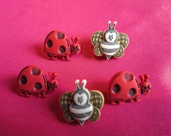 bug buttons with shank ladybird ladybug bee buttons UK seller